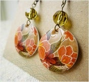 Image of Tropical Tan - Mexican Oilcloth Inspired Earrings