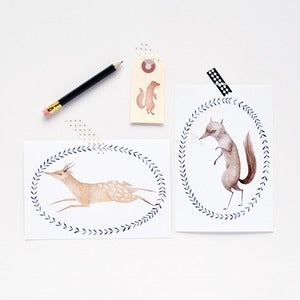 Image of Wolf & Deer Postcard Set