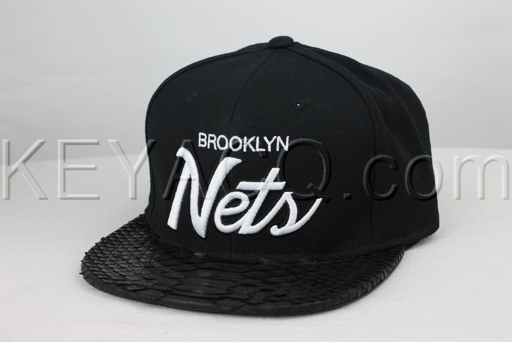 Image of Custom Brooklyn Nets Black Python Strapback