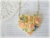 Image of Floral Colourful Resin Heart Necklace
