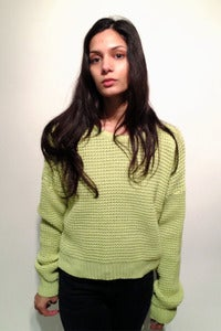 Image of knitted apple green cropped oversized jumper