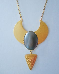 Image of Tula Oversized Hematite Collar Necklace