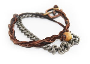 Image of Braided Leather + Chain | Wrap Bracelet