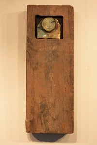 "Image of ""You've got nothing but determination"" can woman in reclaimed sleeper section (wood)"