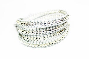 Image of NEW IN! PRUSSIAN AND SILVER Leather Wrap
