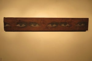"Image of ""Eyes on wood"" mixed media on wood by Mydogsighs"