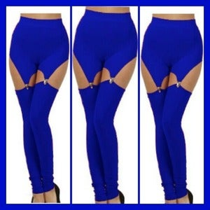 Image of BLUE BUCKLE LEGGINGS