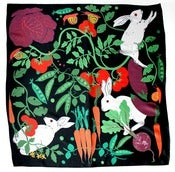 Image of Rabbits in the Allotment Silk Scarf