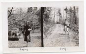 Image of WOMAN CAR DIRT ROAD VINTAGE DIPTYCH PHOTO