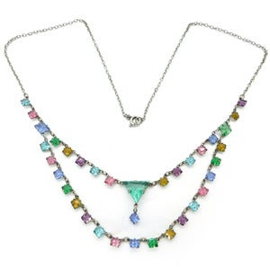 Image of Vintage Art Deco Double Row Open Back Rainbow Glass Drop Chain Necklace