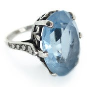 Image of Vintage Art Deco Style Silver Blue Topaz Glass Ornate Large Cocktail Ring