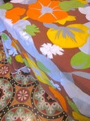 Image of 1970s Brown Flowers Circular Tablecloth