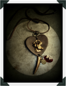 Image of Antique Gold 'Stag ♥ Heart' Pendant~!