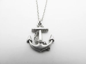 Image of Diamond Set Anchor Necklace